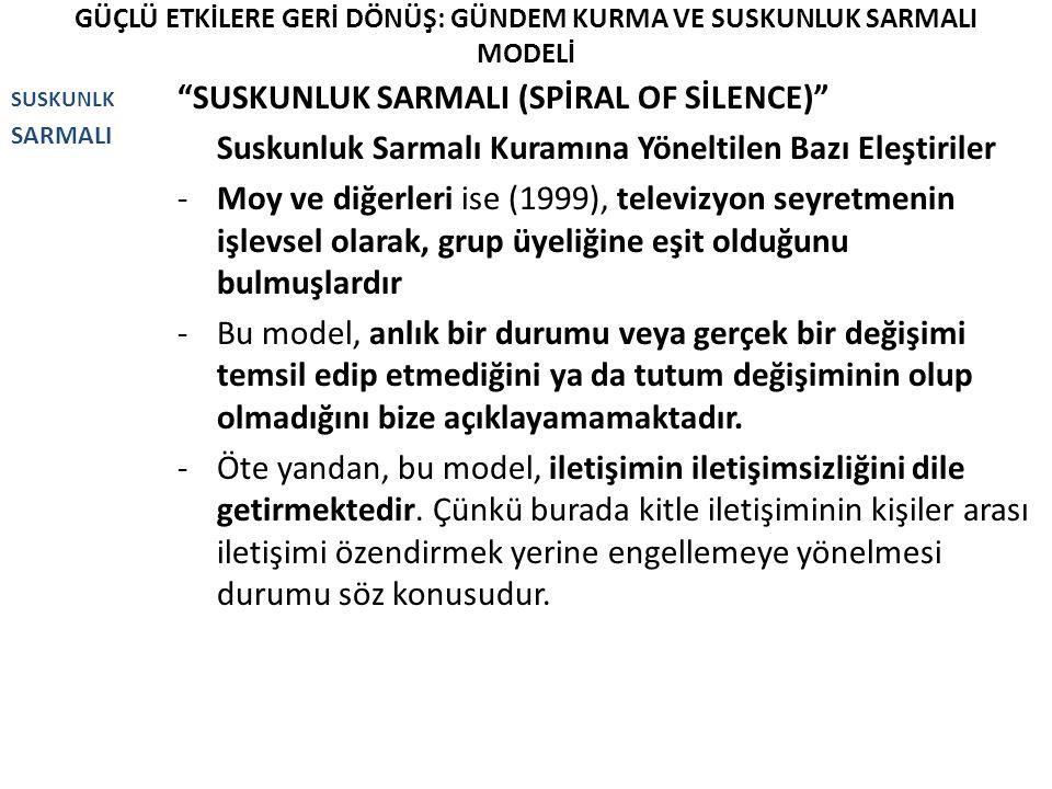 """GÜÇLÜ ETKİLERE GERİ DÖNÜŞ: GÜNDEM KURMA VE SUSKUNLUK SARMALI MODELİ SUSKUNLK SARMALI """"SUSKUNLUK SARMALI (SPİRAL OF SİLENCE)"""" Suskunluk Sarmalı Kuramın"""