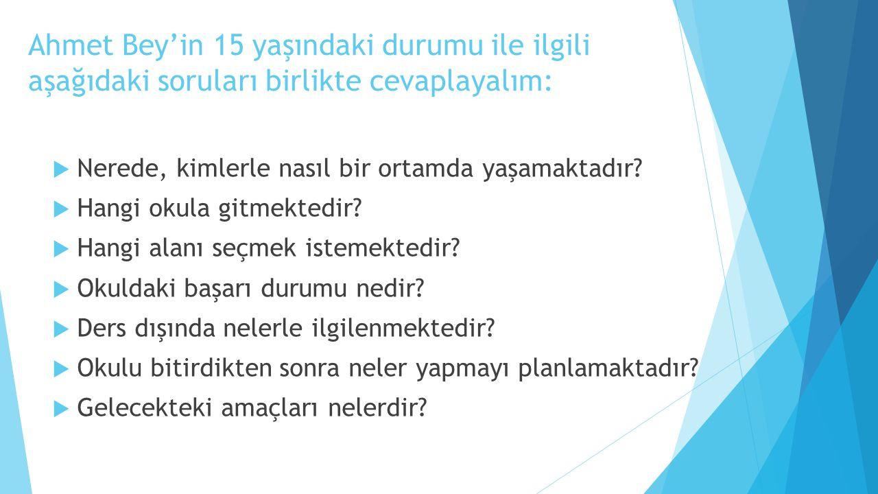 Ahmet Bey'in 15 yaşındaki durumu ile ilgili aşağıdaki soruları birlikte cevaplayalım:  Nerede, kimlerle nasıl bir ortamda yaşamaktadır?  Hangi okula