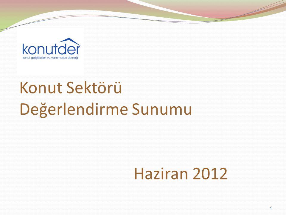 Konut Satışları (Tapuda El Değiştiren Konut Adedi) 2011 yılı son üç aylık döneminde Türkiye genelinde 118.867 konut tapuda el değiştirirken, 2012 yılının ilk üç aylık döneminde bu rakam 96.092 olmuştur.