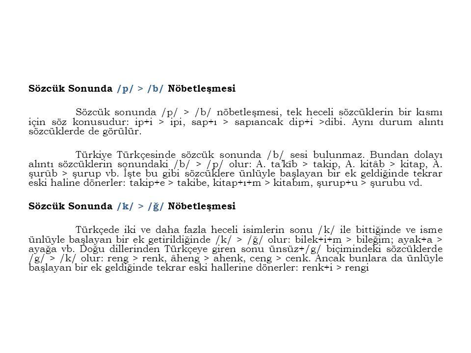 Sözcük Sonunda /p/ > /b/ Nöbetleşmesi Sözcük sonunda /p/ > /b/ nöbetleşmesi, tek heceli sözcüklerin bir kısmı için söz konusudur: ip+i > ipi, sap+ı >