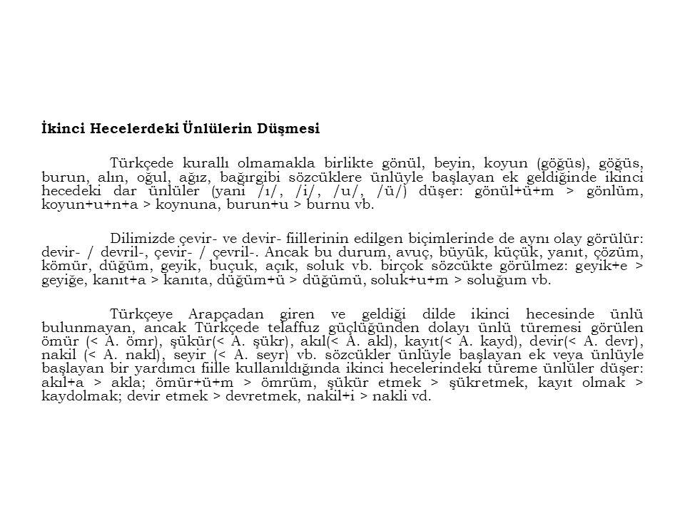 İkinci Hecelerdeki Ünlülerin Düşmesi Türkçede kurallı olmamakla birlikte gönül, beyin, koyun (göğüs), göğüs, burun, alın, oğul, ağız, bağırgibi sözcük