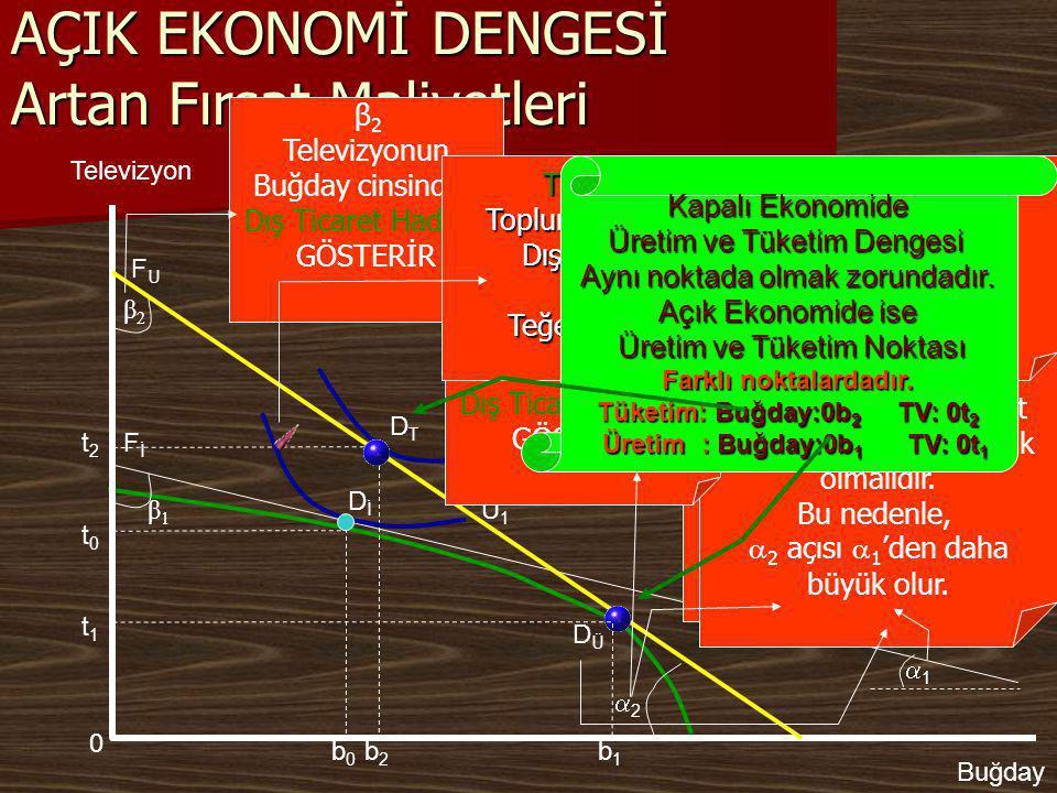 DİDİ Kapalı Ekonomide Üretim ve Tüketim Dengesi Aynı noktada Olmakzorundadır 11 β1β1 AÇIK EKONOMİ DENGESİ Artan Fırsat Maliyetleri U1U1 Televizyon Buğday FİFİ b1b1 t1t1  β 1Televizyonun Buğday cinsinden İç maliyetini Gösterir  1   1Buğdayın TV cinsinden İç maliyetini Gösterir.