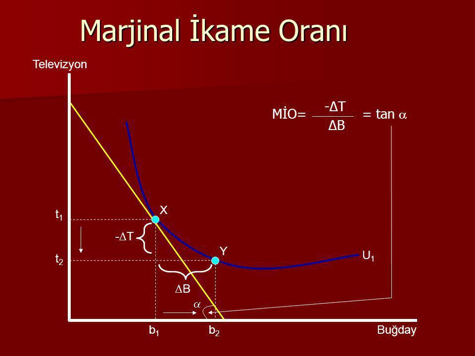  Y X Marjinal İkame Oranı U1U1 Televizyon Buğday -∆T ∆B b1b1 b2b2 t1t1 t2t2 MİO= -∆T ∆B = tan 