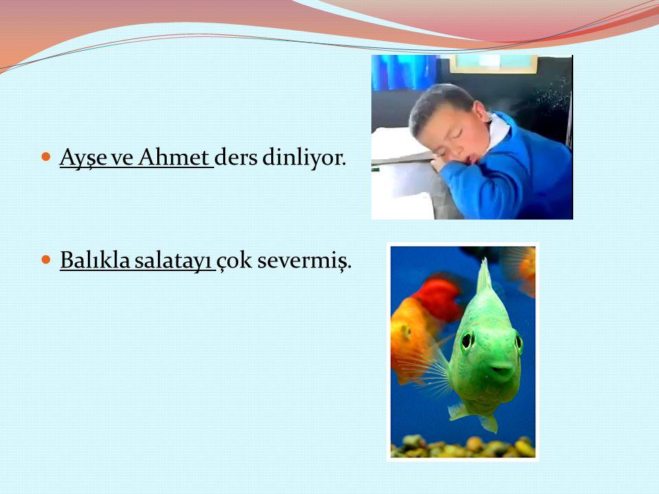Ayşe ve Ahmet ders dinliyor. Balıkla salatayı çok severmiş.