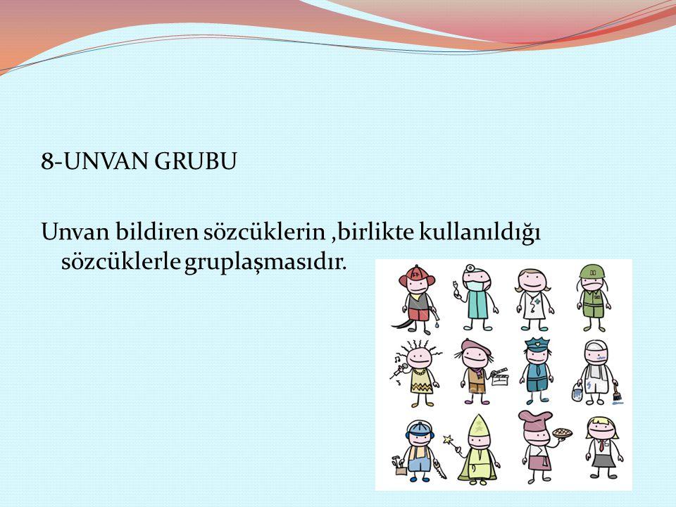 8-UNVAN GRUBU Unvan bildiren sözcüklerin,birlikte kullanıldığı sözcüklerle gruplaşmasıdır.