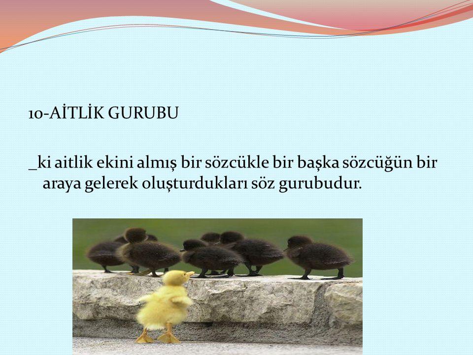 10-AİTLİK GURUBU _ki aitlik ekini almış bir sözcükle bir başka sözcüğün bir araya gelerek oluşturdukları söz gurubudur.