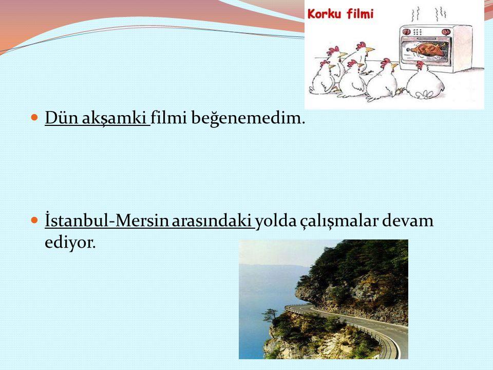 Dün akşamki filmi beğenemedim. İstanbul-Mersin arasındaki yolda çalışmalar devam ediyor.