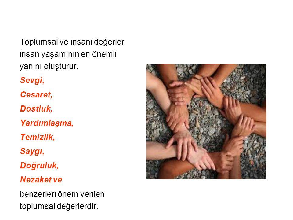 Toplumsal ve insani değerler insan yaşamının en önemli yanını oluşturur. Sevgi, Cesaret, Dostluk, Yardımlaşma, Temizlik, Saygı, Doğruluk, Nezaket ve b