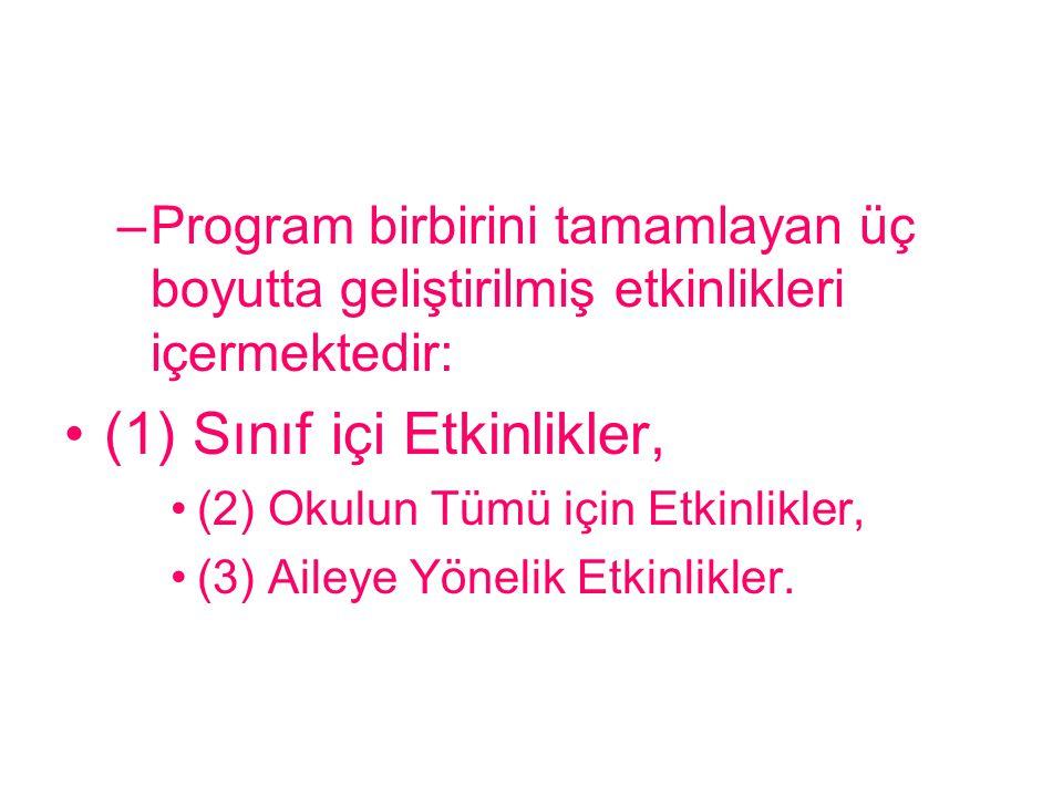 –Program birbirini tamamlayan üç boyutta geliştirilmiş etkinlikleri içermektedir: (1) Sınıf içi Etkinlikler, (2) Okulun Tümü için Etkinlikler, (3) Ail