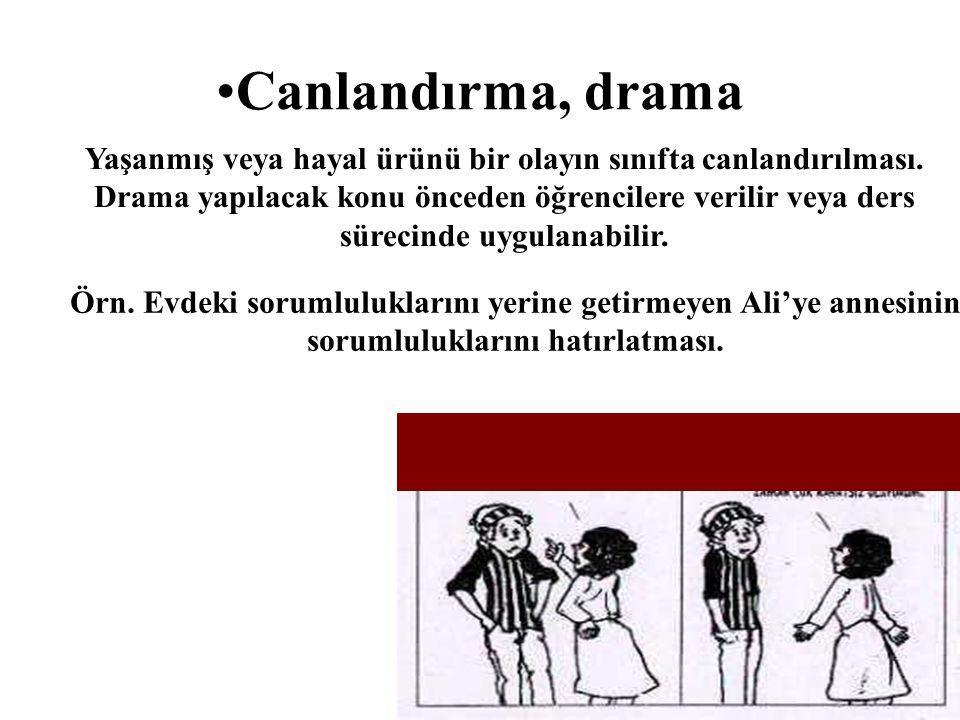 Canlandırma, drama Yaşanmış veya hayal ürünü bir olayın sınıfta canlandırılması. Drama yapılacak konu önceden öğrencilere verilir veya ders sürecinde