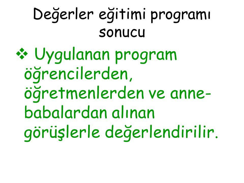 Değerler eğitimi programı sonucu  Uygulanan program öğrencilerden, öğretmenlerden ve anne- babalardan alınan görüşlerle değerlendirilir.