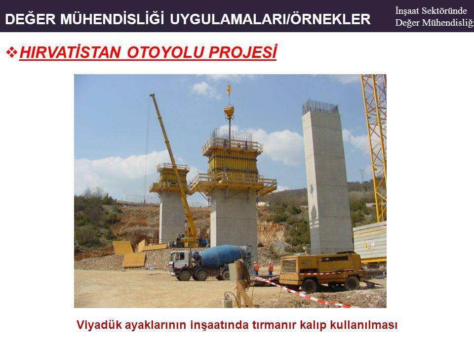 DEĞER MÜHENDİSLİĞİ UYGULAMALARI/ÖRNEKLER  HIRVATİSTAN OTOYOLU PROJESİ Viyadük ayaklarının inşaatında tırmanır kalıp kullanılması İnşaat Sektöründe De