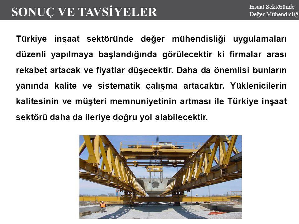 İnşaat Sektöründe Değer Mühendisliği SONUÇ VE TAVSİYELER Türkiye inşaat sektöründe değer mühendisliği uygulamaları düzenli yapılmaya başlandığında gör