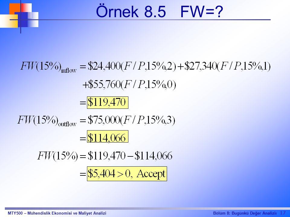 17 Bölüm 8: Bugünkü Değer AnaliziıMTY500 – Mühendislik Ekonomisi ve Maliyet Analizi Örnek 8.5 FW=?