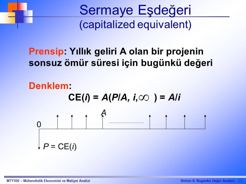 22 Bölüm 8: Bugünkü Değer AnaliziıMTY500 – Mühendislik Ekonomisi ve Maliyet Analizi Sermaye Eşdeğeri (capitalized equivalent) Prensip: Yıllık geliri A olan bir projenin sonsuz ömür süresi için bugünkü değeri Denklem: CE(i) = A(P/A, i, ) = A/i A 0 P = CE(i)
