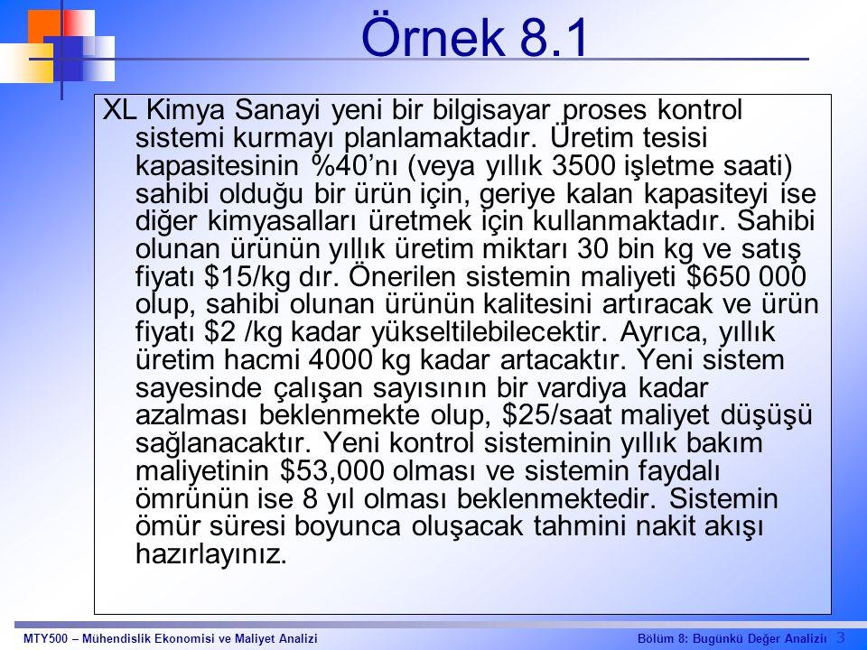 3 Bölüm 8: Bugünkü Değer AnaliziıMTY500 – Mühendislik Ekonomisi ve Maliyet Analizi Örnek 8.1 XL Kimya Sanayi yeni bir bilgisayar proses kontrol sistem