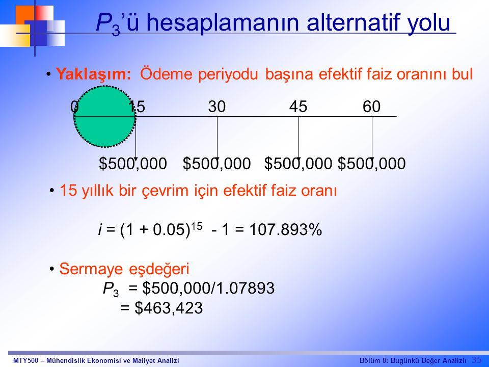 35 Bölüm 8: Bugünkü Değer AnaliziıMTY500 – Mühendislik Ekonomisi ve Maliyet Analizi P 3 'ü hesaplamanın alternatif yolu Yaklaşım: Ödeme periyodu başına efektif faiz oranını bul 15 yıllık bir çevrim için efektif faiz oranı i = (1 + 0.05) 15 - 1 = 107.893% Sermaye eşdeğeri P 3 = $500,000/1.07893 = $463,423 15 304560 0 $500,000