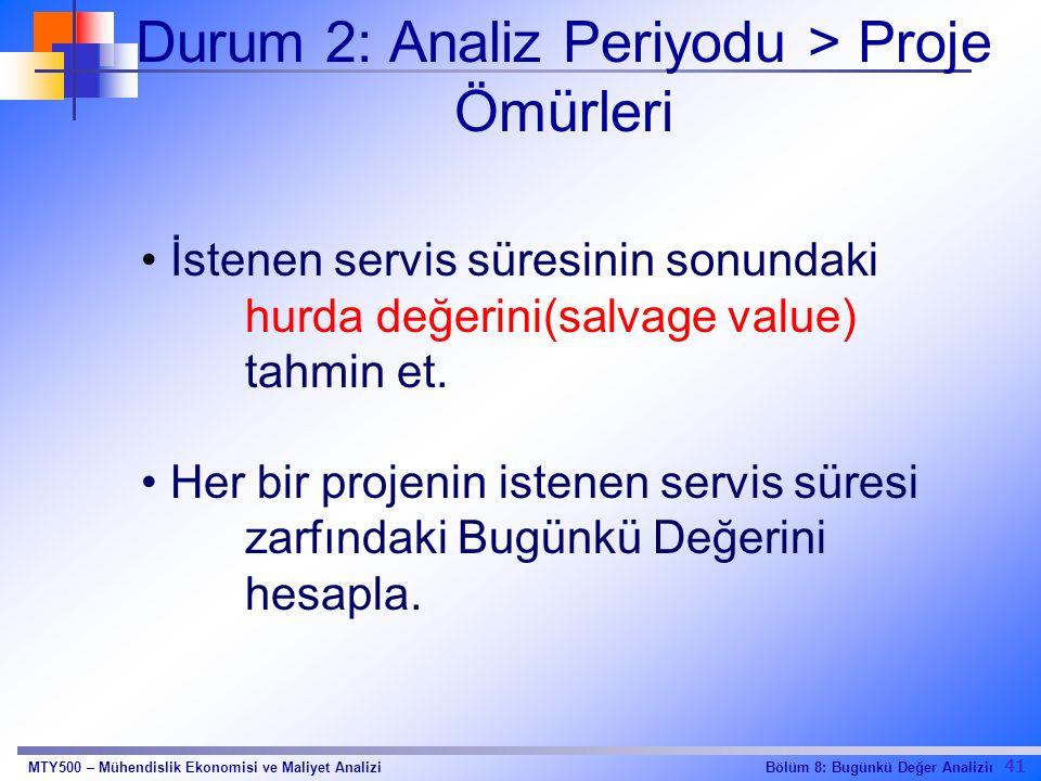 41 Bölüm 8: Bugünkü Değer AnaliziıMTY500 – Mühendislik Ekonomisi ve Maliyet Analizi Durum 2: Analiz Periyodu > Proje Ömürleri İstenen servis süresinin sonundaki hurda değerini(salvage value) tahmin et.