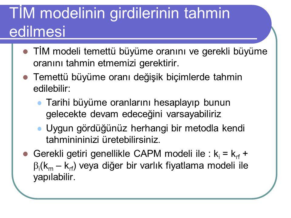 TİM modelinin girdilerinin tahmin edilmesi TİM modeli temettü büyüme oranını ve gerekli büyüme oranını tahmin etmemizi gerektirir. Temettü büyüme oran