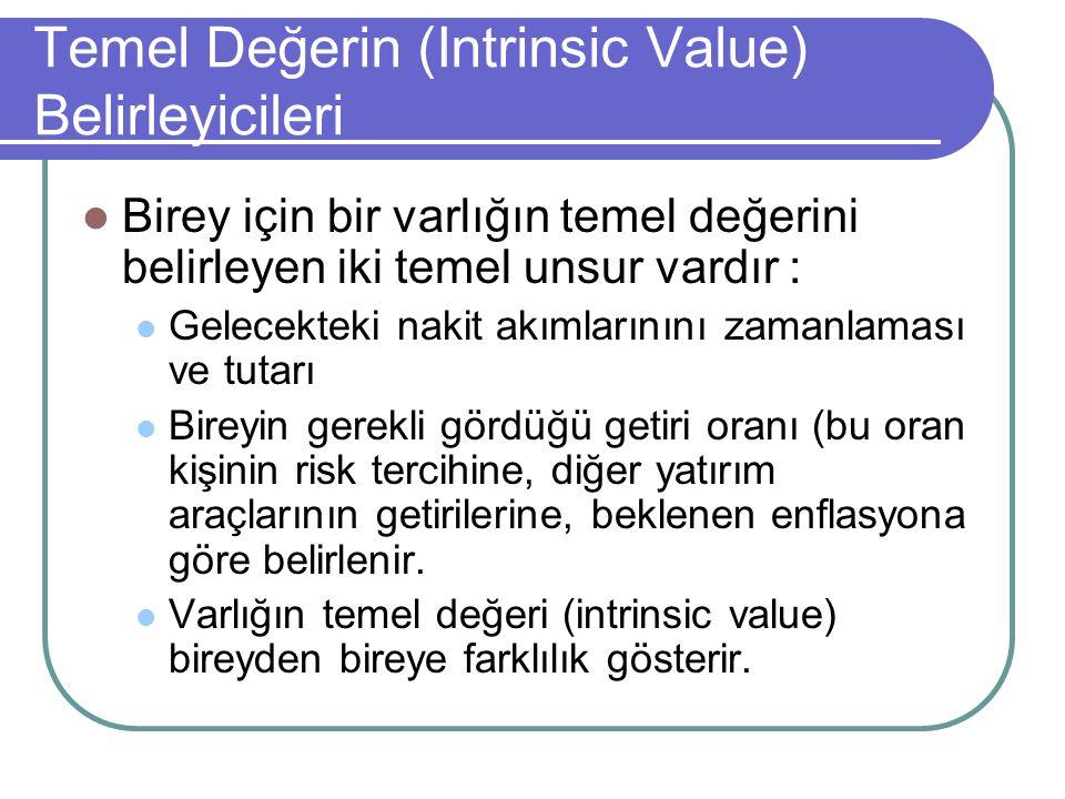Temel Değerin (Intrinsic Value) Belirleyicileri Birey için bir varlığın temel değerini belirleyen iki temel unsur vardır : Gelecekteki nakit akımların