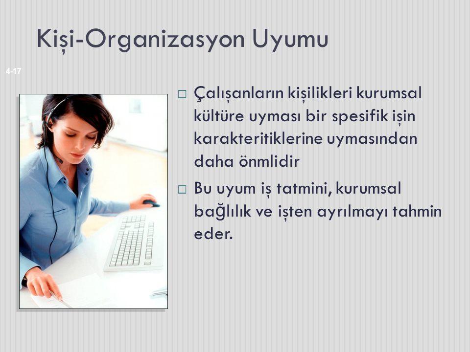 Kişi-Organizasyon Uyumu 4-17  Çalışanların kişilikleri kurumsal kültüre uyması bir spesifik işin karakteritiklerine uymasından daha önmlidir  Bu uyu