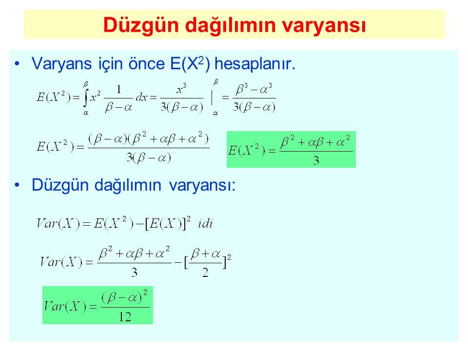 Düzgün dağılımın varyansı Varyans için önce E(X 2 ) hesaplanır. Düzgün dağılımın varyansı: