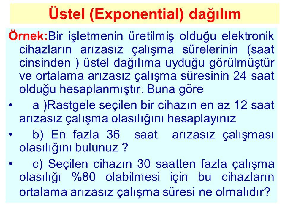 Üstel (Exponential) dağılım Örnek:Bir işletmenin üretilmiş olduğu elektronik cihazların arızasız çalışma sürelerinin (saat cinsinden ) üstel dağılıma