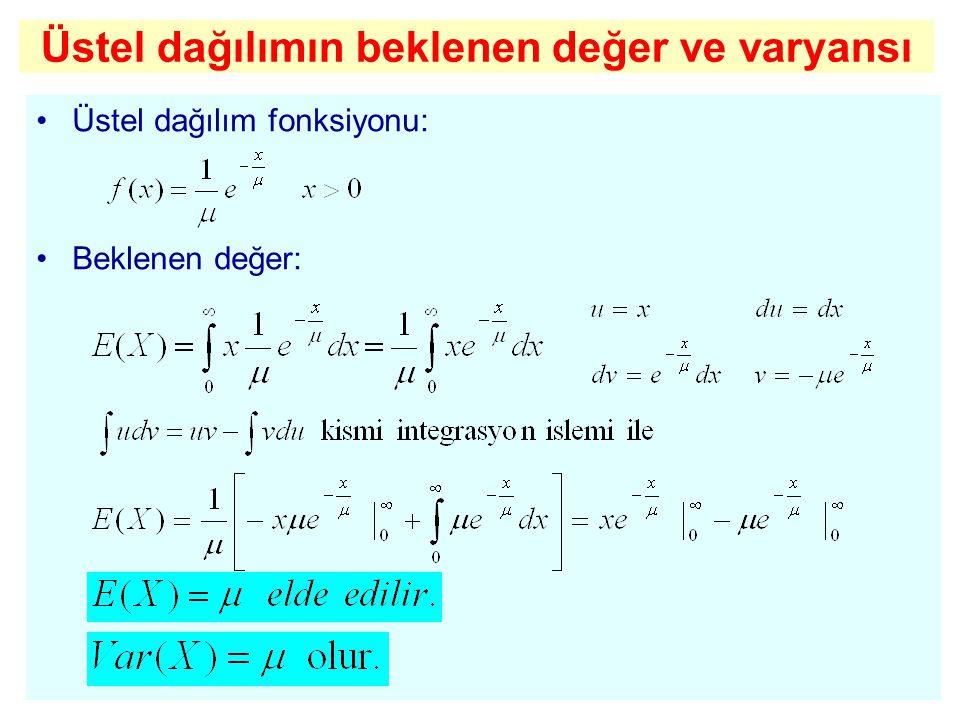 Üstel dağılımın beklenen değer ve varyansı Üstel dağılım fonksiyonu: Beklenen değer: