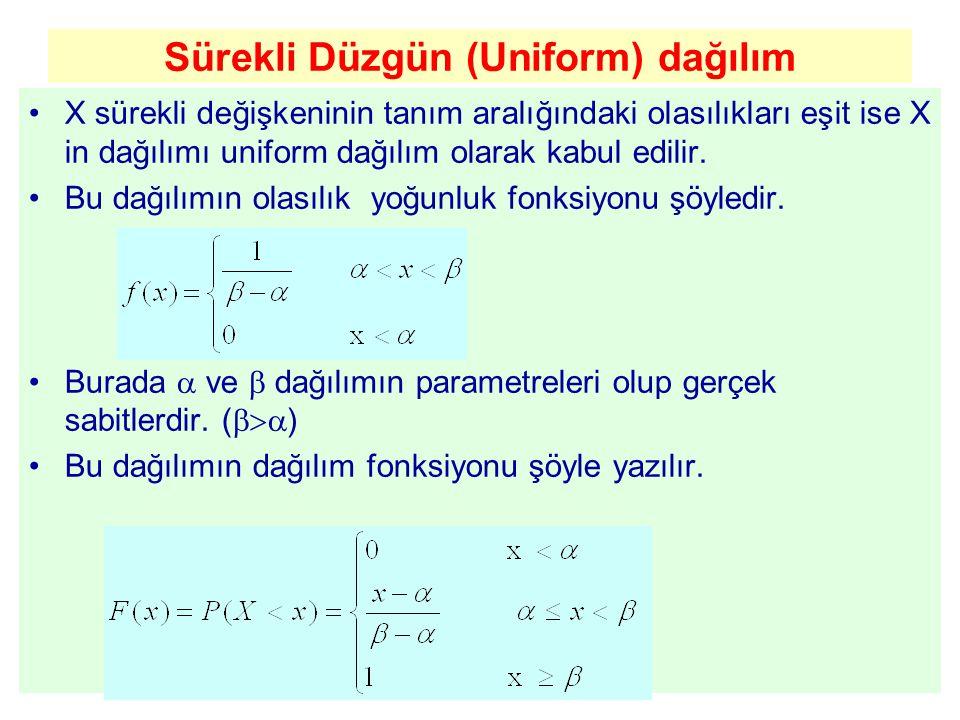 Sürekli Düzgün (Uniform) dağılım X sürekli değişkeninin tanım aralığındaki olasılıkları eşit ise X in dağılımı uniform dağılım olarak kabul edilir. Bu