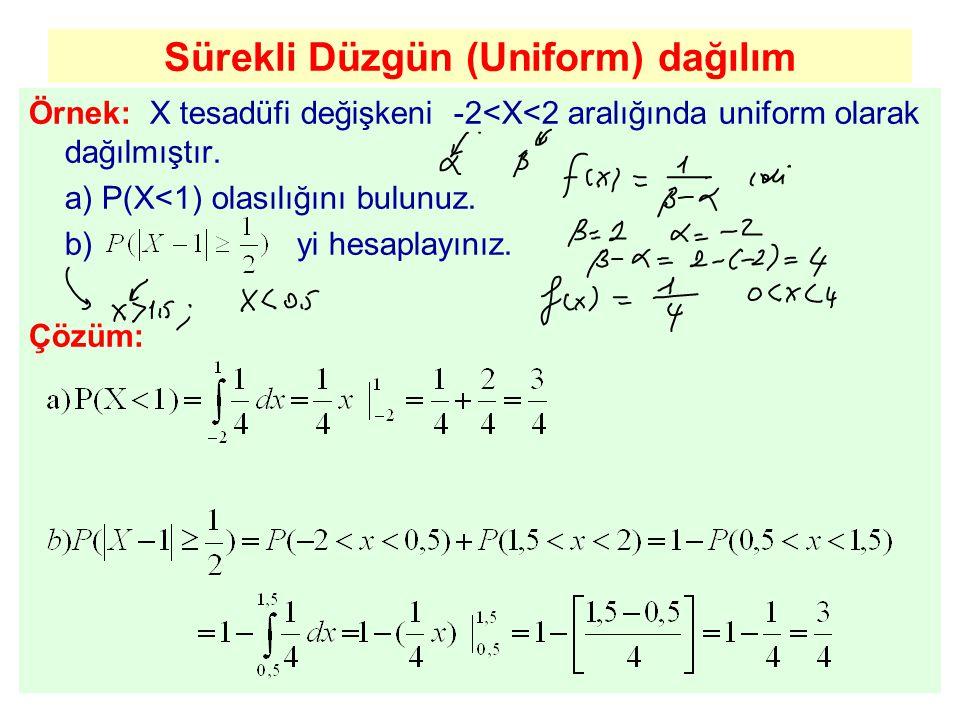 Sürekli Düzgün (Uniform) dağılım Örnek: X tesadüfi değişkeni -2<X<2 aralığında uniform olarak dağılmıştır. a) P(X<1) olasılığını bulunuz. b) yi hesapl