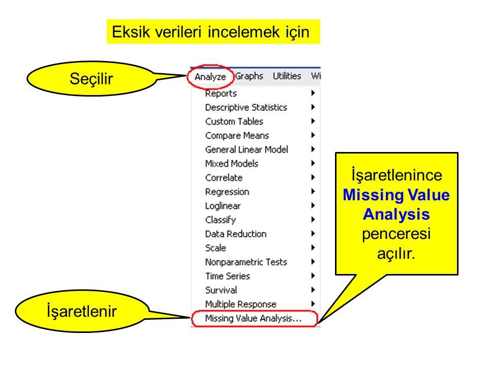 Eksik verileri incelemek için Seçilir İşaretlenir İşaretlenince Missing Value Analysis penceresi açılır.