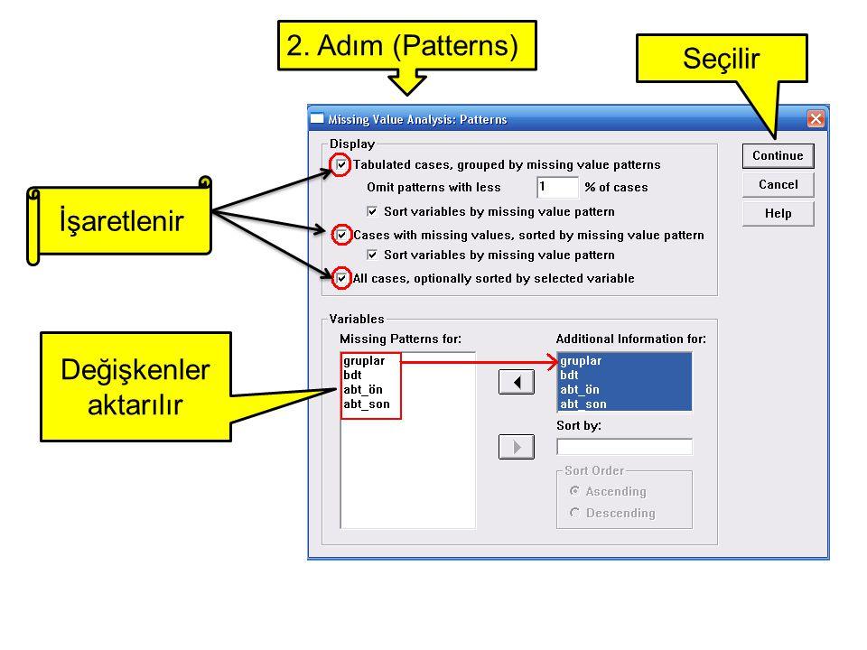 İşaretlenir Değişkenler aktarılır Seçilir 2. Adım (Patterns)