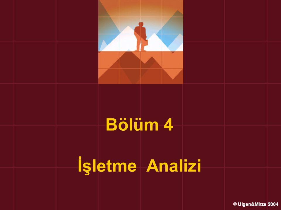 Bölüm 4 İşletme Analizi © Ülgen&Mirze 2004