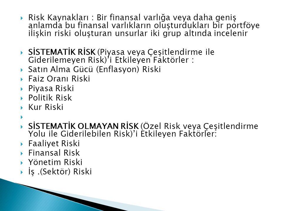  Risk Kaynakları : Bir finansal varlığa veya daha geniş anlamda bu finansal varlıkların oluşturdukları bir portföye iİişkin riski oluşturan unsurlar