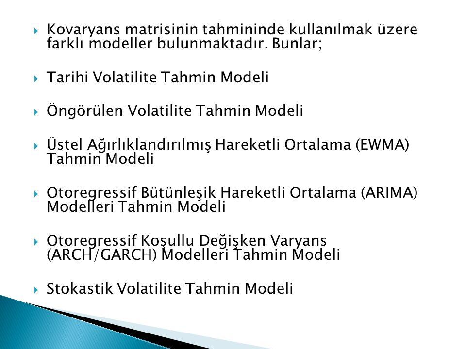  Kovaryans matrisinin tahmininde kullanılmak üzere farklı modeller bulunmaktadır. Bunlar;  Tarihi Volatilite Tahmin Modeli  Öngörülen Volatilite Ta