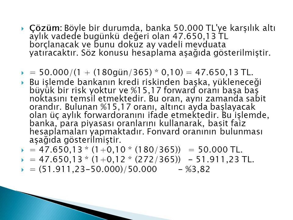  Çözüm: Böyle bir durumda, banka 50.000 TL'ye karşılık altı aylık vadede bugünkü değeri olan 47.650,13 TL borçlanacak ve bunu dokuz ay vadeli mevduat
