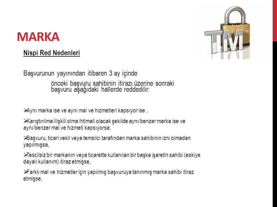 MARKA Nispi Red Nedenleri Başvurunun yayınından itibaren 3 ay içinde önceki başvuru sahibinin itirazı üzerine sonraki başvuru aşağıdaki hallerde redde