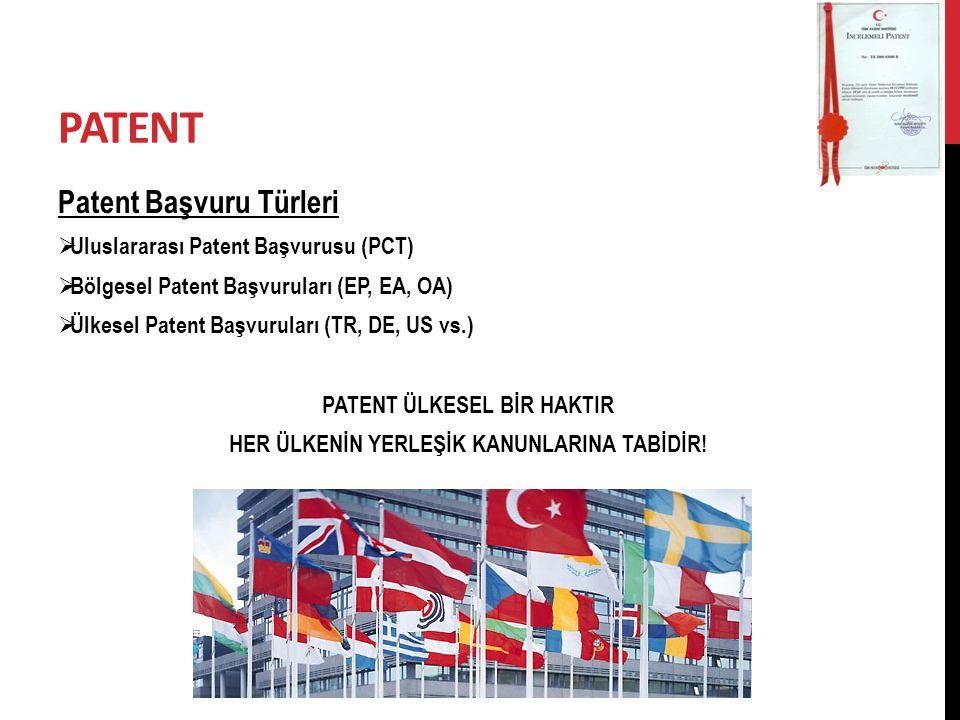 PATENT Patent Başvuru Türleri  Uluslararası Patent Başvurusu (PCT)  Bölgesel Patent Başvuruları (EP, EA, OA)  Ülkesel Patent Başvuruları (TR, DE, U