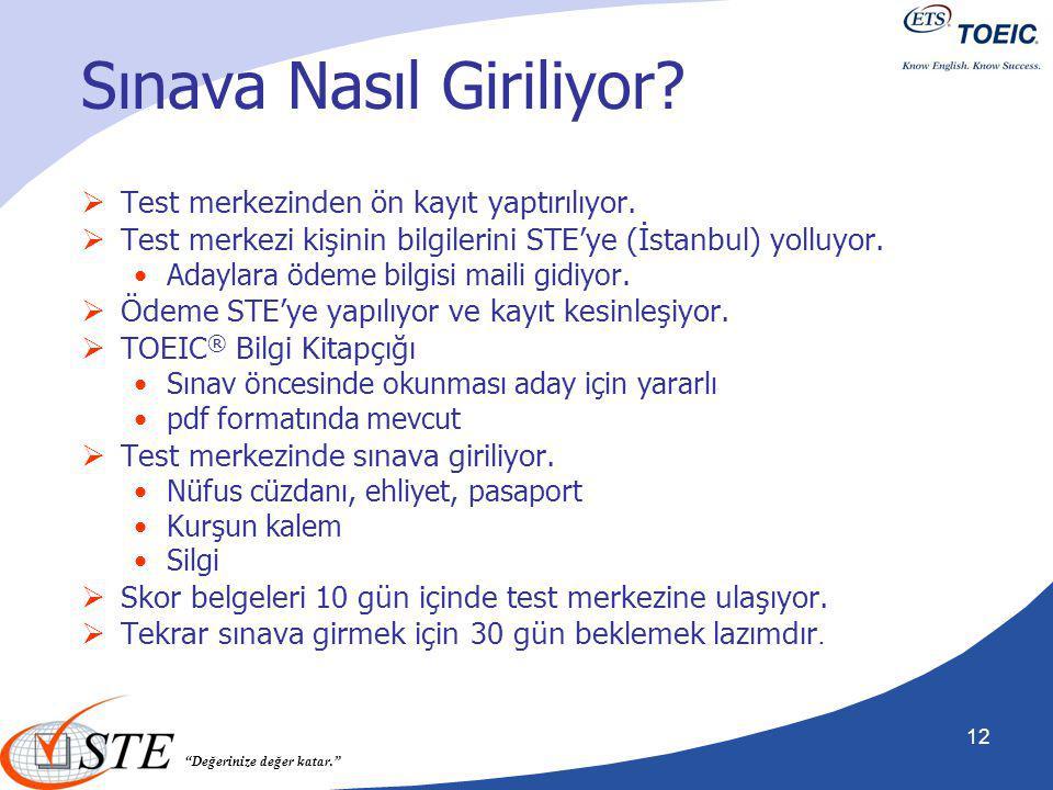 """""""Değerinize değer katar."""" Sınava Nasıl Giriliyor?  Test merkezinden ön kayıt yaptırılıyor.  Test merkezi kişinin bilgilerini STE'ye (İstanbul) yollu"""