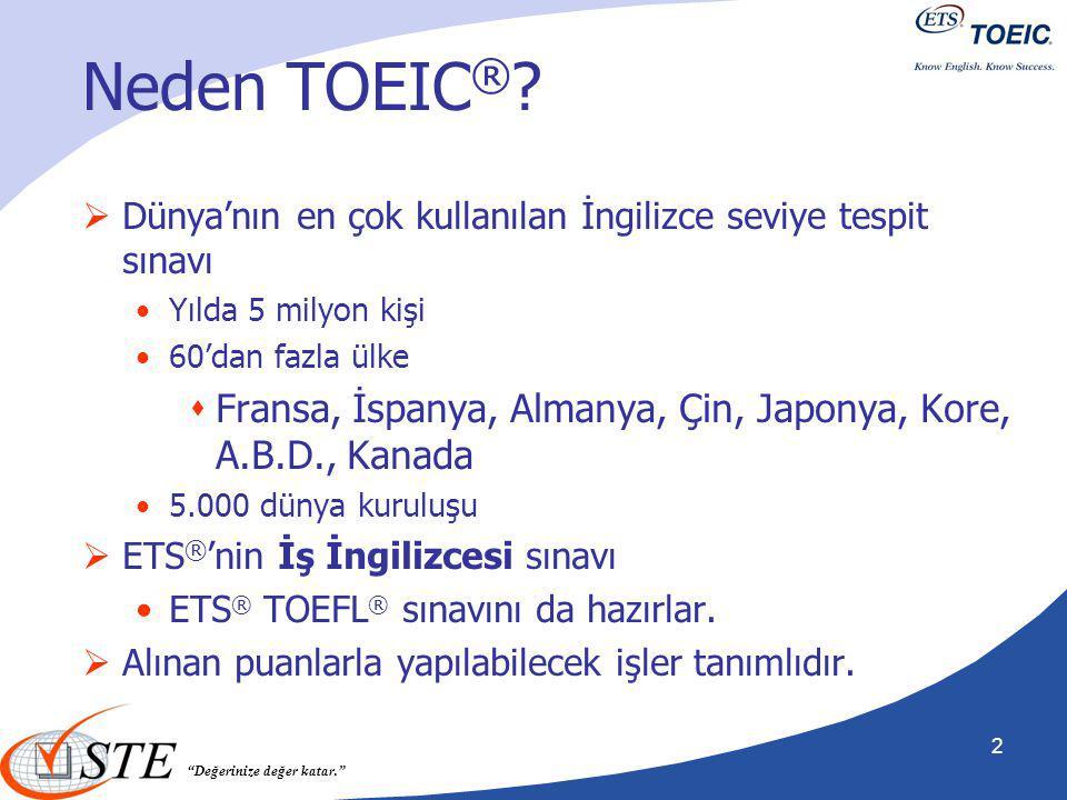 """""""Değerinize değer katar."""" Neden TOEIC ® ?  Dünya'nın en çok kullanılan İngilizce seviye tespit sınavı Yılda 5 milyon kişi 60'dan fazla ülke  Fransa,"""