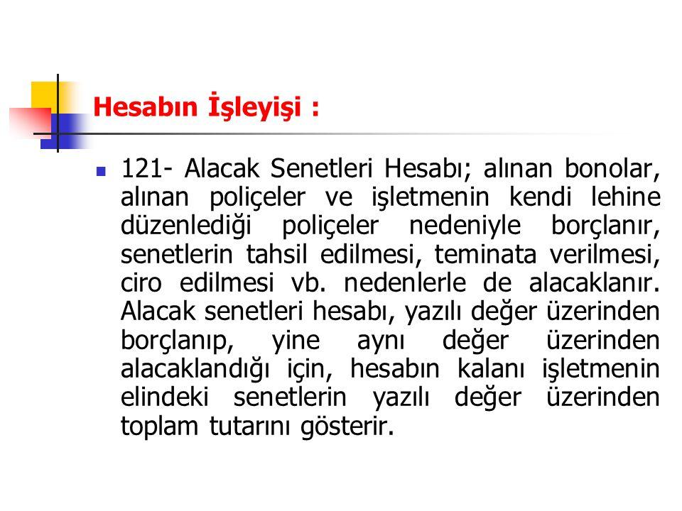 Hesabın İşleyişi : 121- Alacak Senetleri Hesabı; alınan bonolar, alınan poliçeler ve işletmenin kendi lehine düzenlediği poliçeler nedeniyle borçlanır