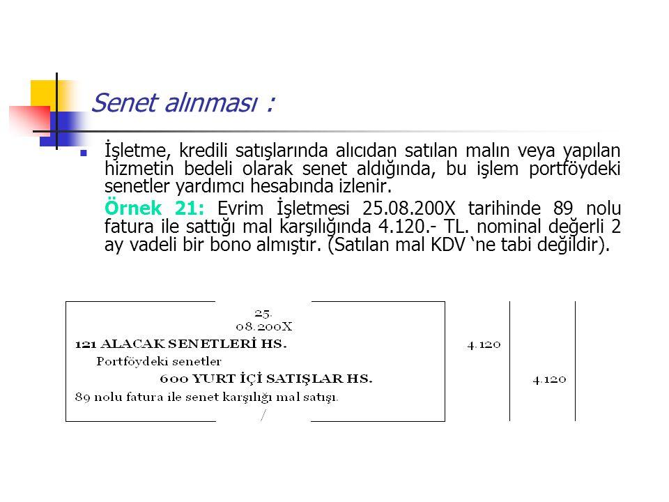 Senet alınması : İşletme, kredili satışlarında alıcıdan satılan malın veya yapılan hizmetin bedeli olarak senet aldığında, bu işlem portföydeki senetl