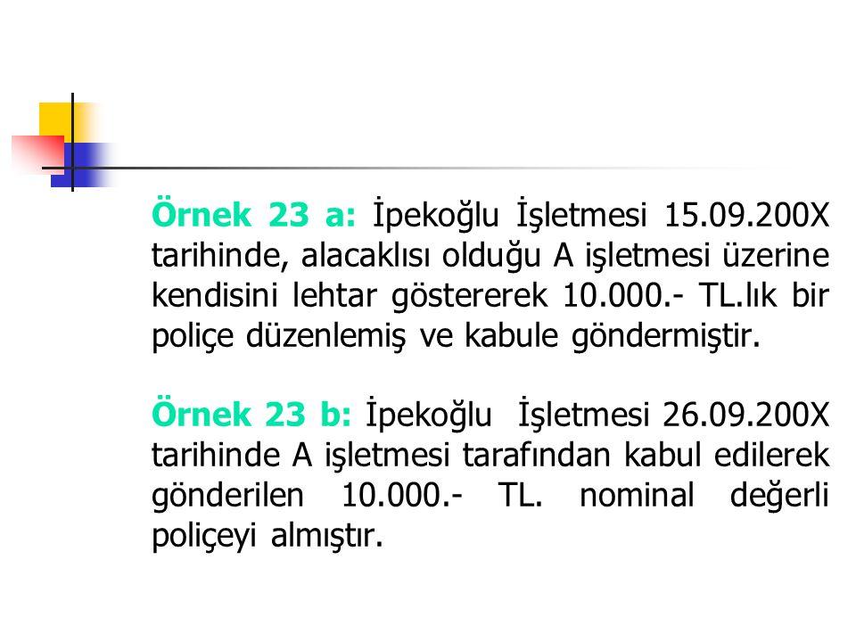 Örnek 23 a: İpekoğlu İşletmesi 15.09.200X tarihinde, alacaklısı olduğu A işletmesi üzerine kendisini lehtar göstererek 10.000.- TL.lık bir poliçe düze