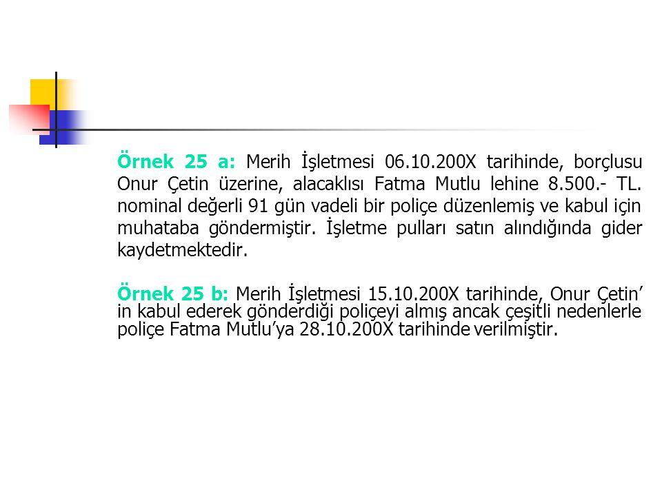 Örnek 25 a: Merih İşletmesi 06.10.200X tarihinde, borçlusu Onur Çetin üzerine, alacaklısı Fatma Mutlu lehine 8.500.- TL. nominal değerli 91 gün vadeli