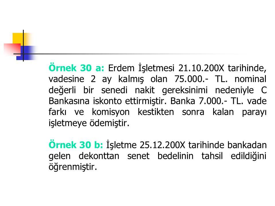 Örnek 30 a: Erdem İşletmesi 21.10.200X tarihinde, vadesine 2 ay kalmış olan 75.000.- TL. nominal değerli bir senedi nakit gereksinimi nedeniyle C Bank
