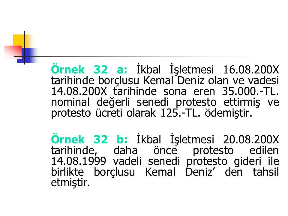 Örnek 32 a: İkbal İşletmesi 16.08.200X tarihinde borçlusu Kemal Deniz olan ve vadesi 14.08.200X tarihinde sona eren 35.000.-TL. nominal değerli senedi