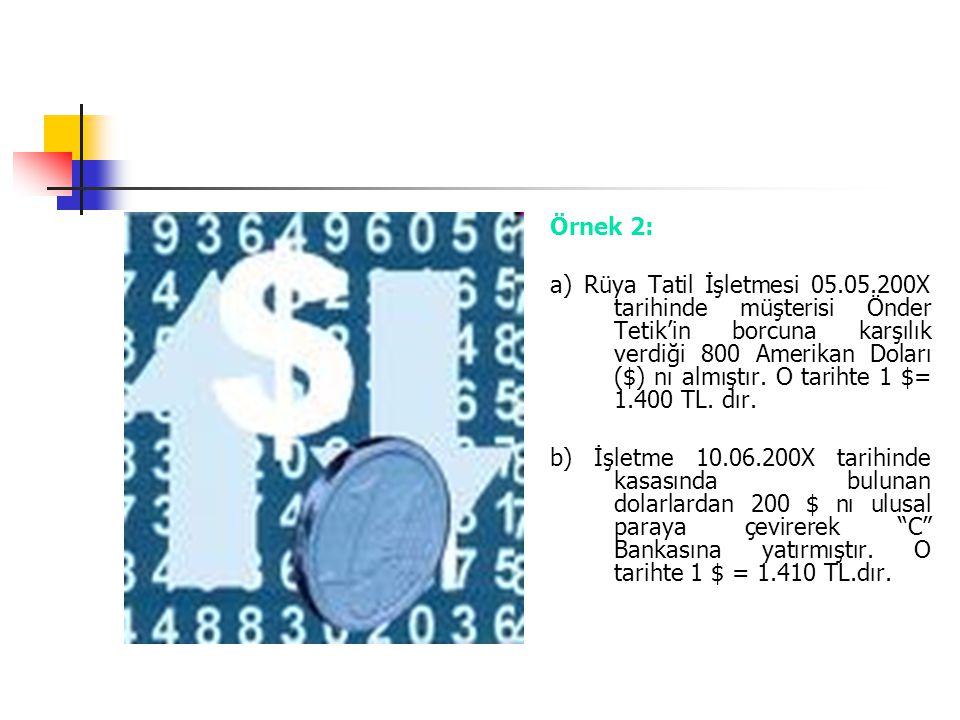 Örnek 2: a) Rüya Tatil İşletmesi 05.05.200X tarihinde müşterisi Önder Tetik'in borcuna karşılık verdiği 800 Amerikan Doları ($) nı almıştır. O tarihte