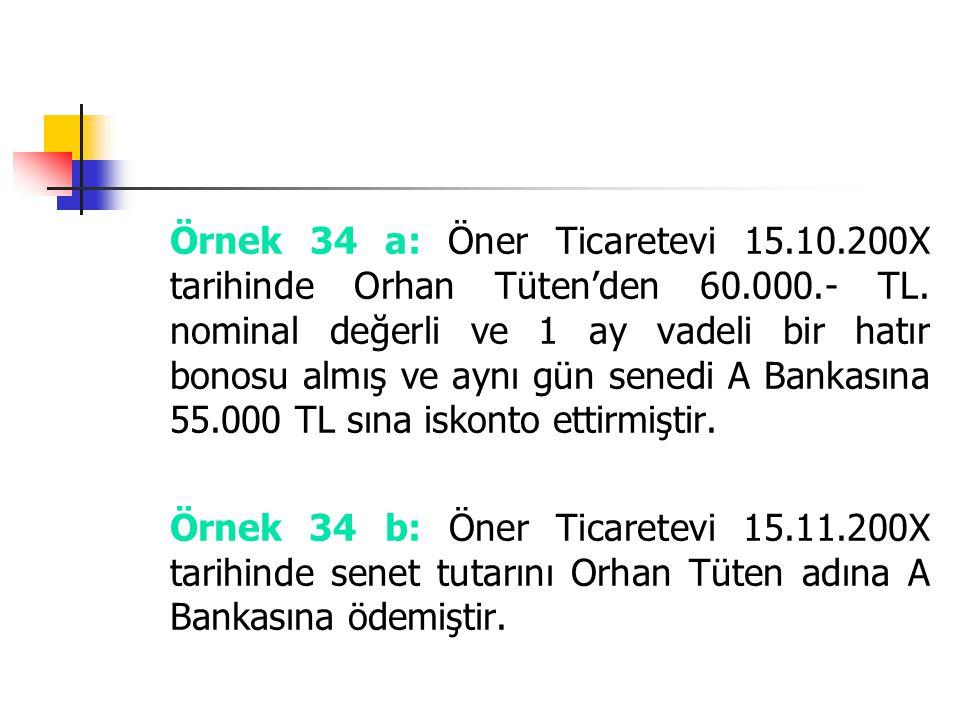 Örnek 34 a: Öner Ticaretevi 15.10.200X tarihinde Orhan Tüten'den 60.000.- TL. nominal değerli ve 1 ay vadeli bir hatır bonosu almış ve aynı gün senedi