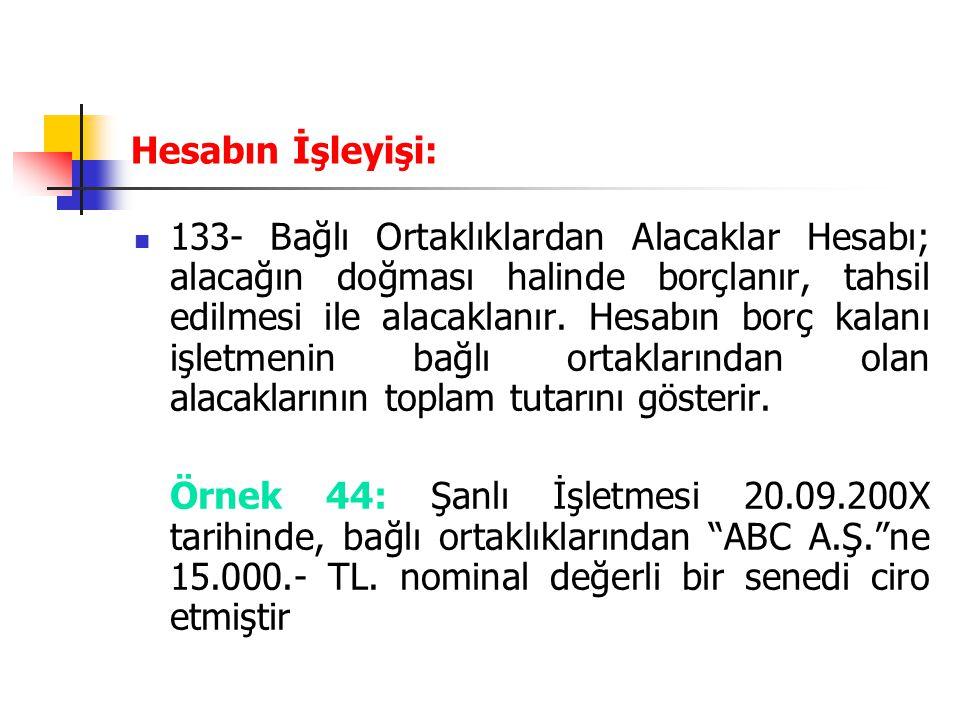 Hesabın İşleyişi: 133- Bağlı Ortaklıklardan Alacaklar Hesabı; alacağın doğması halinde borçlanır, tahsil edilmesi ile alacaklanır. Hesabın borç kalanı