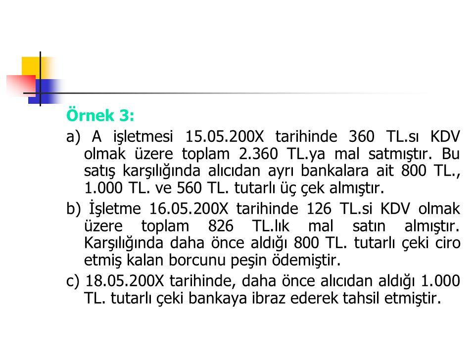 Örnek 3: a) A işletmesi 15.05.200X tarihinde 360 TL.sı KDV olmak üzere toplam 2.360 TL.ya mal satmıştır. Bu satış karşılığında alıcıdan ayrı bankalara